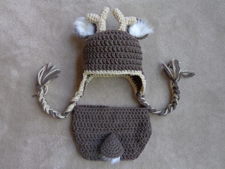 White Tail Deer Crochet Hat and Diaper Cover- Newborn