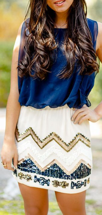Pretty Lady with nice Chevron Skirt