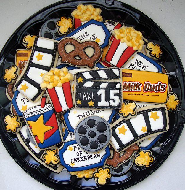 Movie Night Sugar Cookie Platter - decorated sugar cookies, #cookieart.  Milk Duds, popcorn