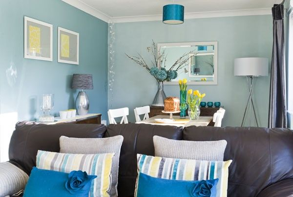 Teal Living Room With Yellow Accents For The Home