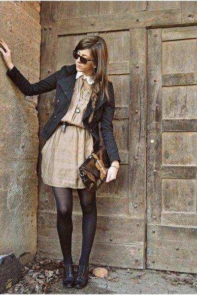 Dress, jacket, tights. #fall #style #inspiration