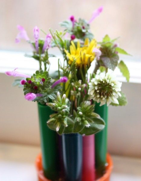 Recycled pen cap vase