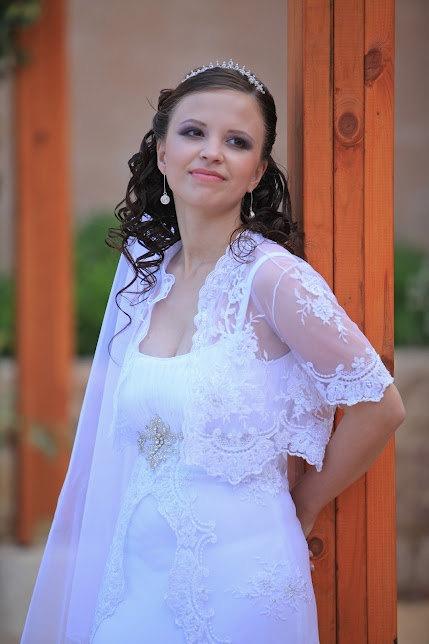 Lace bolero top short sleeve for wedding dress white ivory