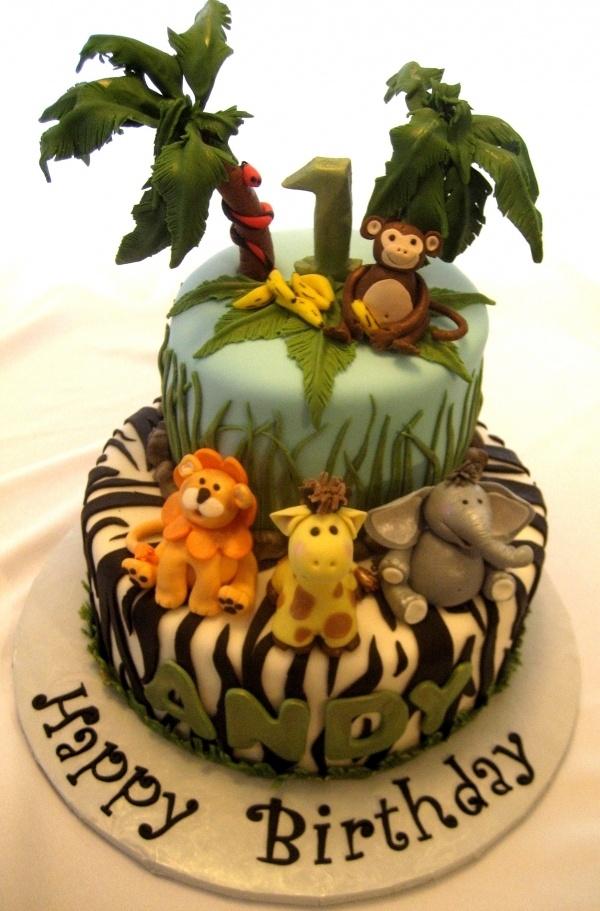 safari friends birthday cake