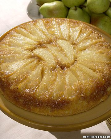 Pear Upside-Down Cake made in cast iron skillet!