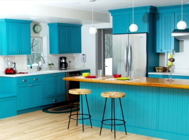 Kitchen ~ cabinets ~ turquoise, image 2  Bitchin' Kitchens  Pintere