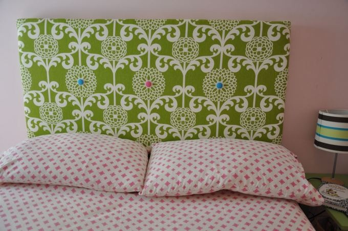 fabric covered headboard _ want to do this for my girls room with cute ...