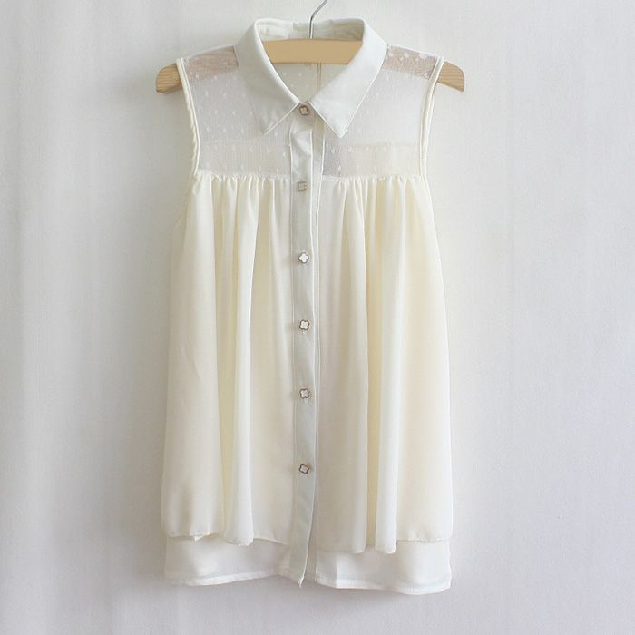 Lapel Mesh Lace Sleeveless Chiffon Shirt