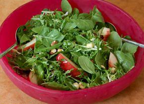 Baby Arugula Salad with Nectarines and Toasted Hazelnuts