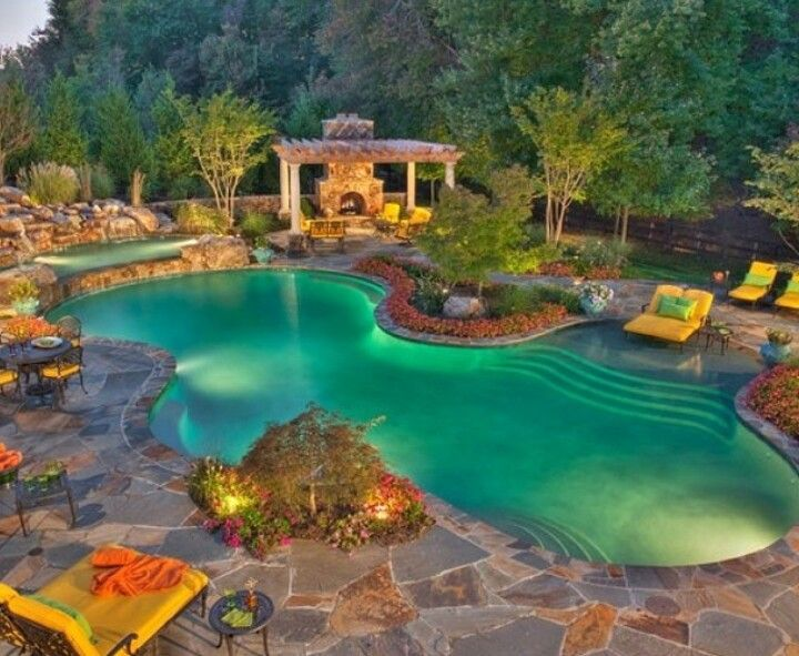 Luxury pool pools waterfalls lights stacked stone for Luxury pools with waterfalls