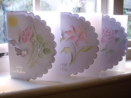 Scallop cards also using stencils.  Very pretty!