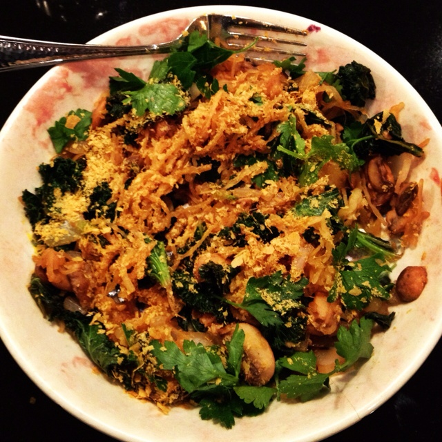 Spaghetti squash with mushrooms and kale topped with nutritional yeast ...