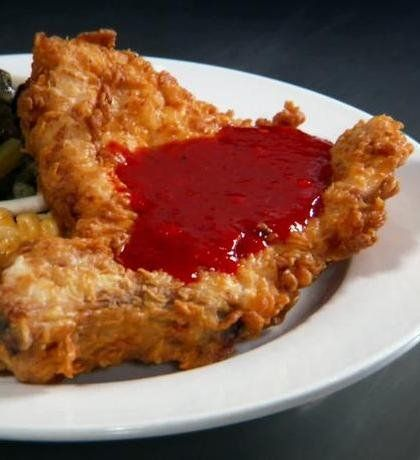 Recipe for Pork Chops with Sweet and Spicy Red Pepper Jelly - This is from an episode of Diners, Drive-ins and Dives from The Early Bird Diner!