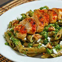 Spinach Pesto (aka Spanakopita Pesto) Pasta with Paprika Grilled ...