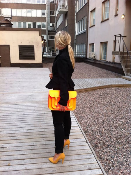 orange cambridge & peplum jacket