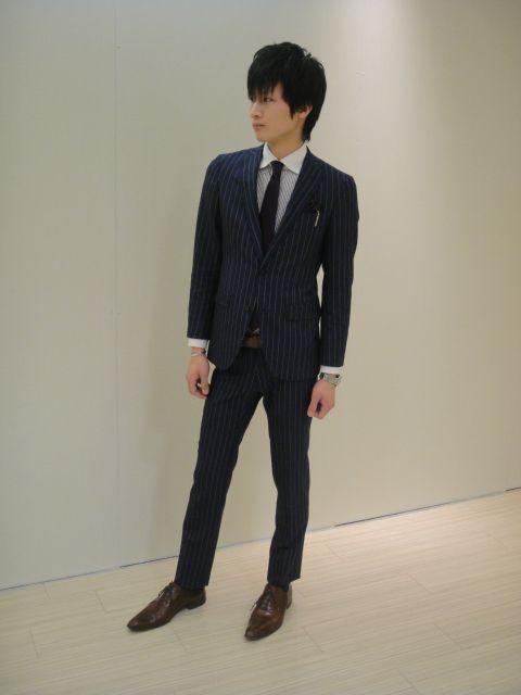紺チョークストライプスーツ ...