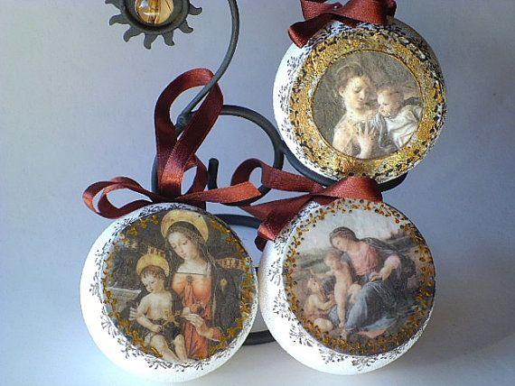 Decoupage Christmas Ornaments set of 3 balls by croatianproud