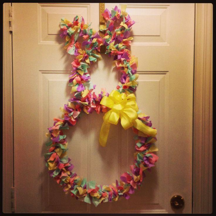 rag easter bunny wreath