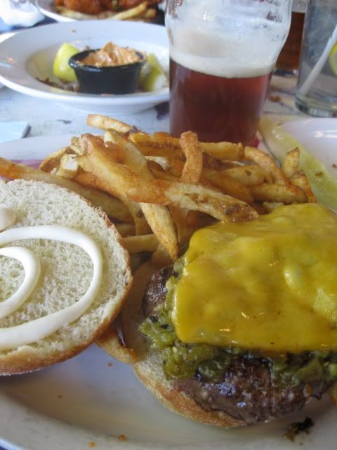 green chile cheeseburger + ipa (2nd street brewery, santa fe nm)