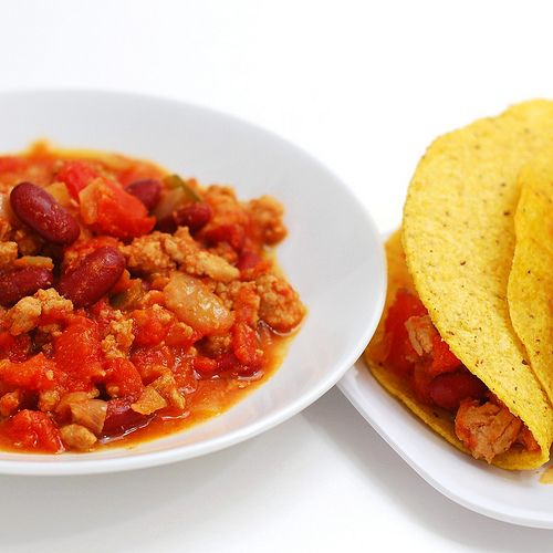 Turkey Taco Chili Tacos | 200 Calories and less | Pinterest