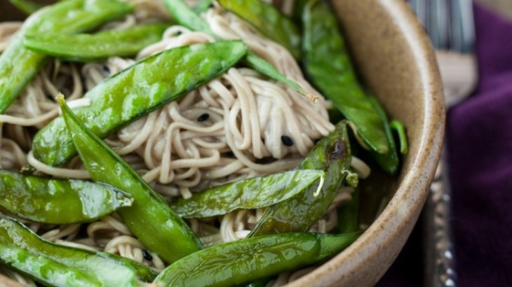 Roasted Snap Peas and Soba Noodles with Honey Soy Dressing Recipe ...