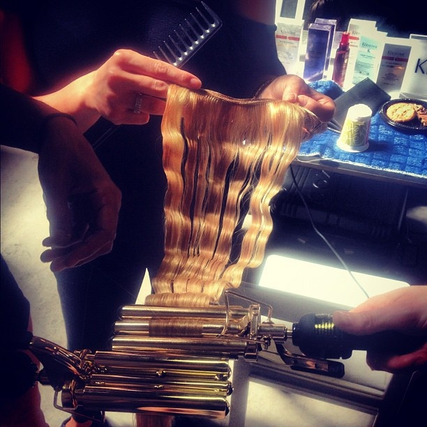 Double barrel on extensions behind the scenes @ThakoonNY. #nyfw