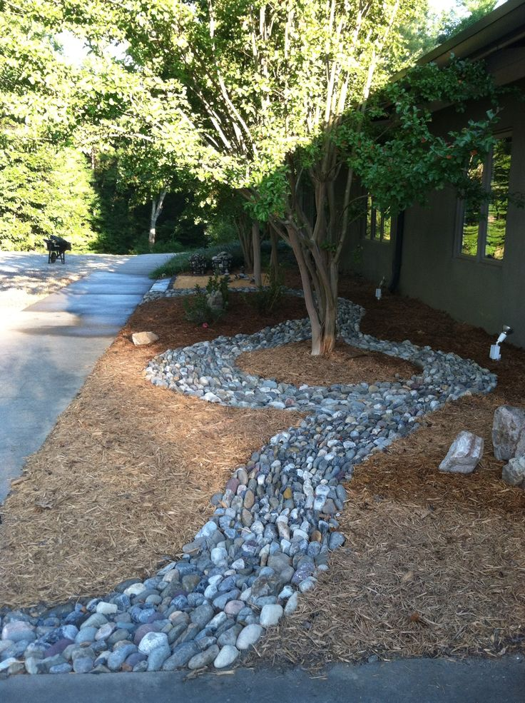 My dry river rock project  Backyard  Pinterest