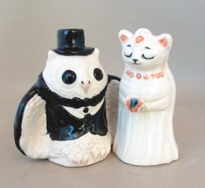 Custom Ceramic Owl And Pussycat Wedding Cake Toppers Next Day Shipp