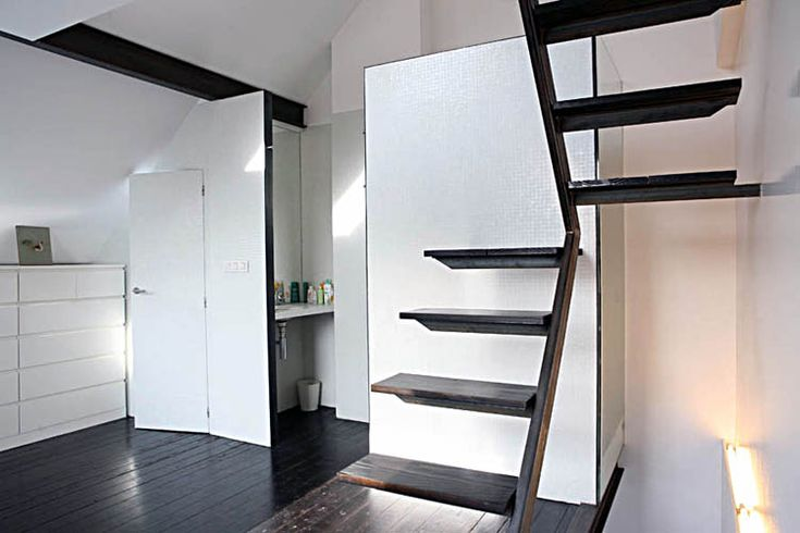 Space saving cantilevered stairs dakota fox pinterest - Stairs small space image ...