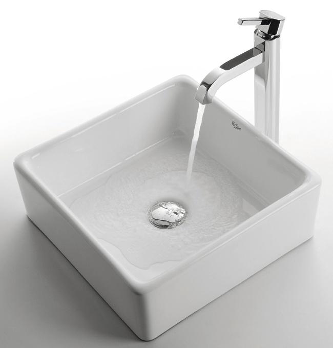 Square Vessel Bathroom Sink : Kraus 15