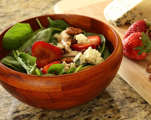 Strawberry Salad with Roasted Chicken, Toasted Pecans, Blue Cheese ...