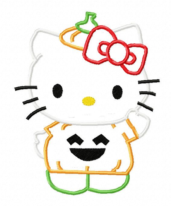Hello kitty halloween pumpkin applique machine embroidery for Pumpkin kitty designs