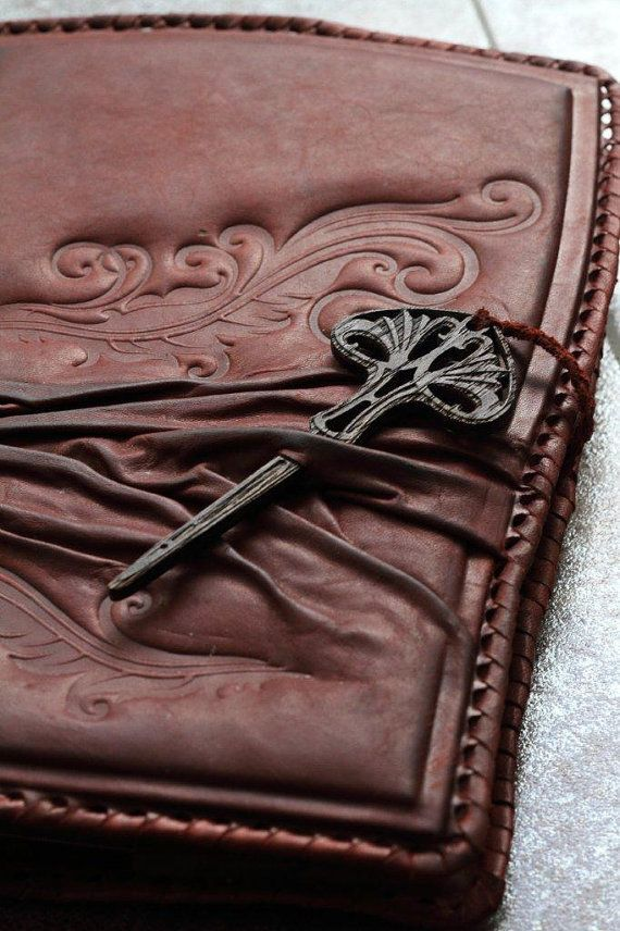 Handmade Leather Book Cover ~ Handmade leather notebook book cover diary key of life