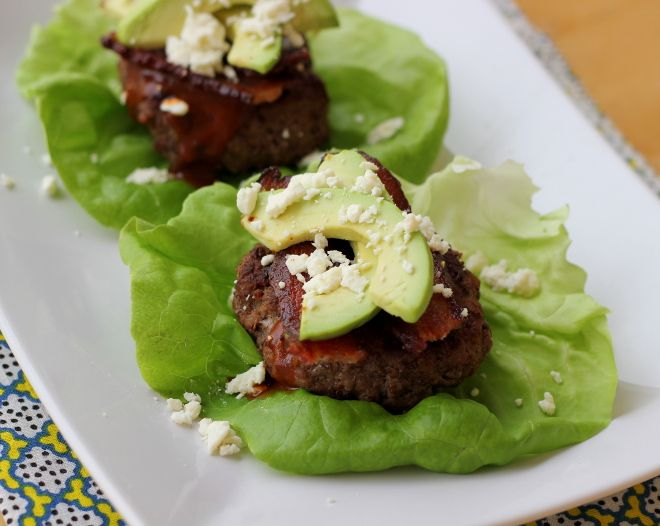 Lettuce-Wrapped Sliders with Bacon, Avocado, Caramelized Onion, and BBQ Sauce {paleo} | Meaningful Eats