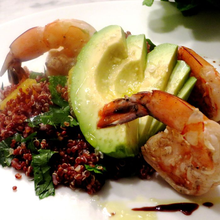 Grilled Shrimp with Black Quinoa, Avocado, and Orange Salad