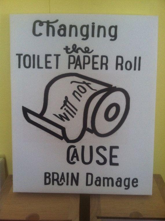 Funny Bathroom Canvas Art On Etsy 15 00
