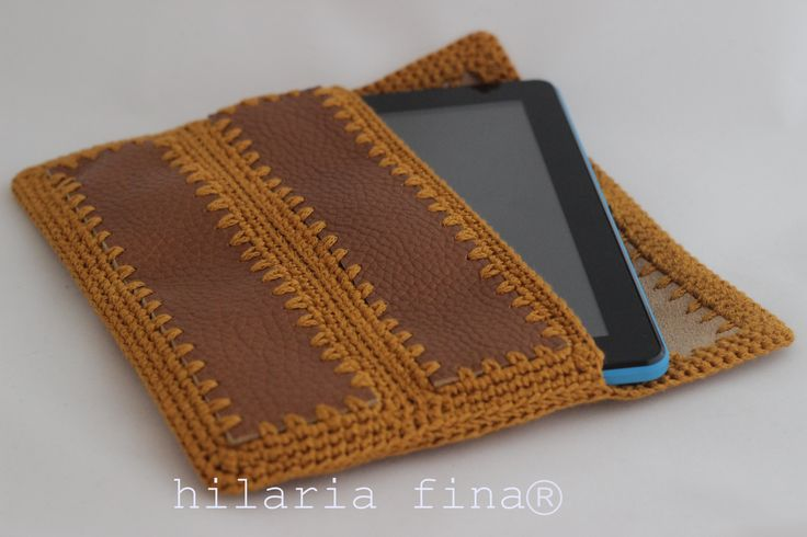 hf Leather and Crochet Envelope-Bag...for your Tablet?? ❥ 4U //