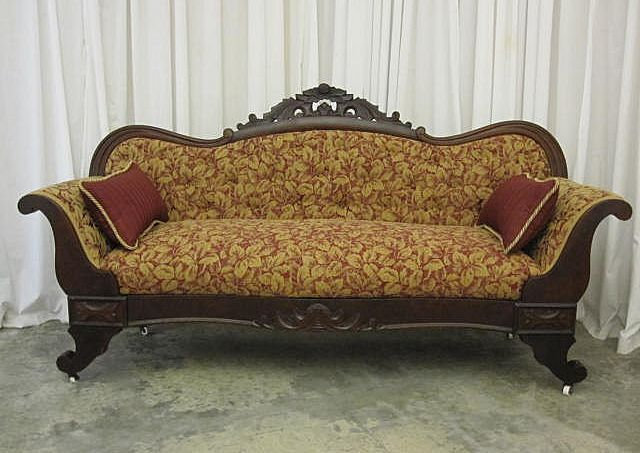 Antique 1800s 1900s empire style sofa furniture antique pinterest Antique loveseat styles