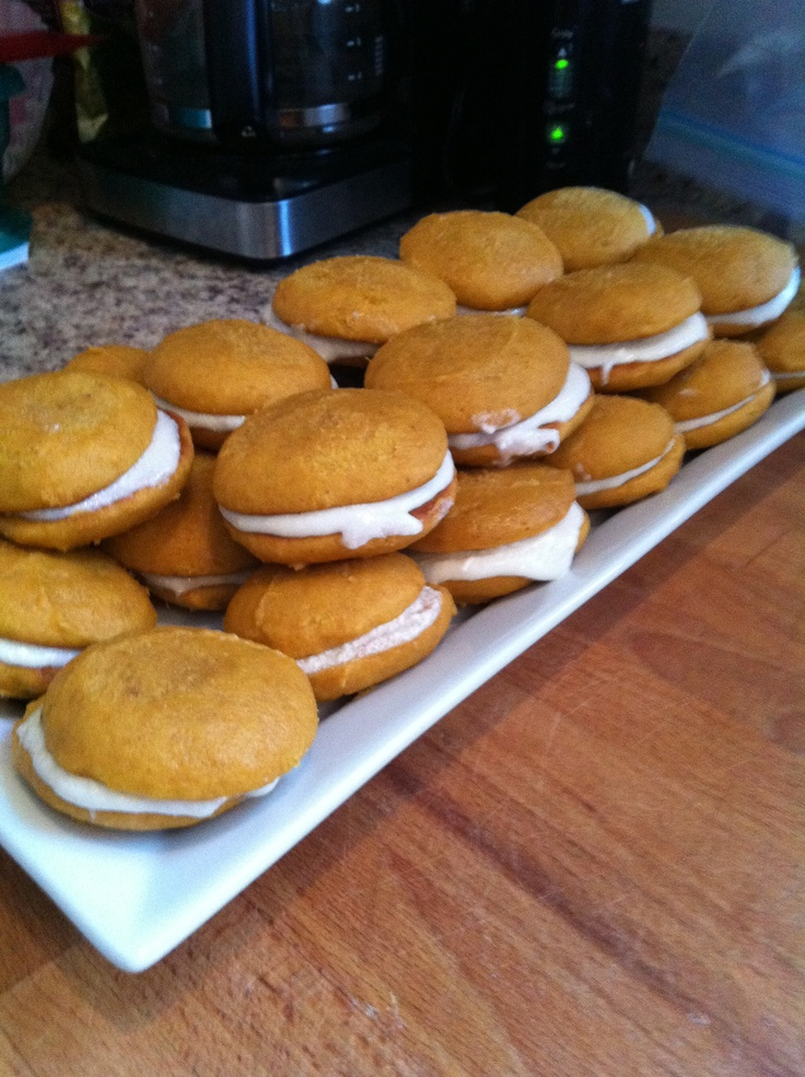 mini pumpkin whoopie pies....turned out pretty well, except just need ...