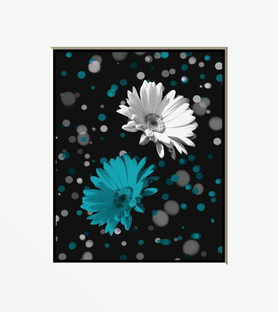 Black White Teal Blue Daisy Wall Art Home Decor Matted Picture