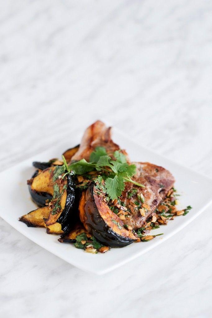 Pork Chop & Acorn Squash with Squash Seed Vinaigrette | bsinthekitchen ...