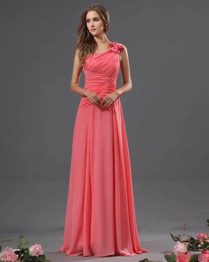 Lovely One Shoulder Chiffon Bowtie Floor Length Bridesmaid Dresses
