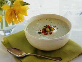 Cucumber buttermilk soup with tomato garnish