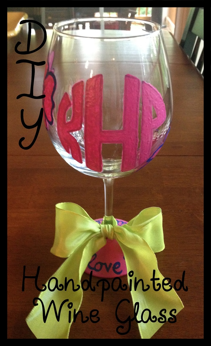 Monogramming/painting wine glasses