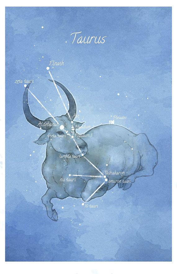 Astronomy art, Taurus constellation, luminescent stars ...