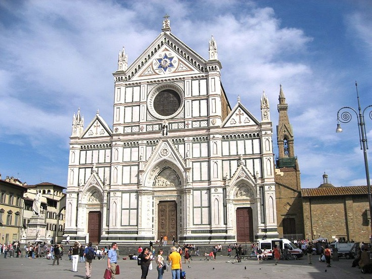 Basilica of Santa Croce, Florence --   In the 1980s when I was here I lite a candle for my cousin Mark Fusco who had recently passed away.  The Fusco family is from the town of Santa Croce.------- File:Santa Croce exterior Firenze Apr 2008.JPG