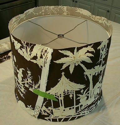 how to cover lampshades with fabric and trim.  The lamps in our bedroom need to be spruced up...  especially since we just painted the walls.