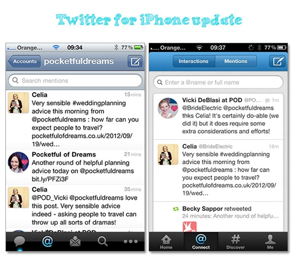 Twitter redesign tutorial on changing your Twitter header image Dream Find Do blog, as well as a review of iPhone upgrade v5.