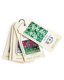 Garden Rolodex....Preempt your garden-center amnesia by creating a portable garden index  on a key ring. Smart!  #garden