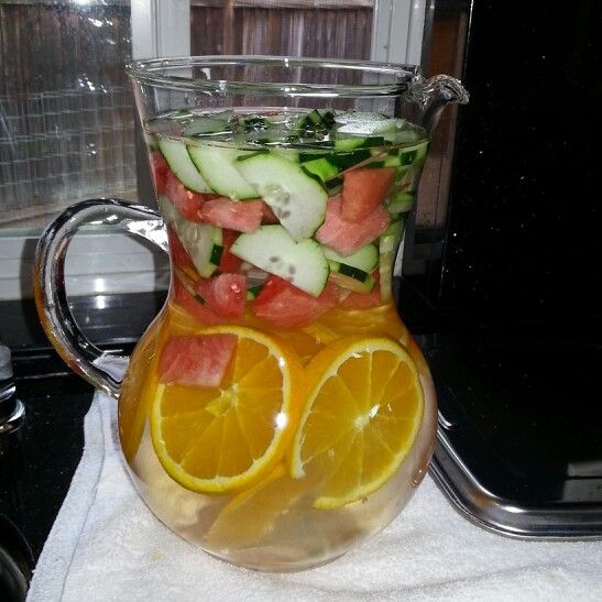 Refreshing cucumber, orange, watetmelon water.